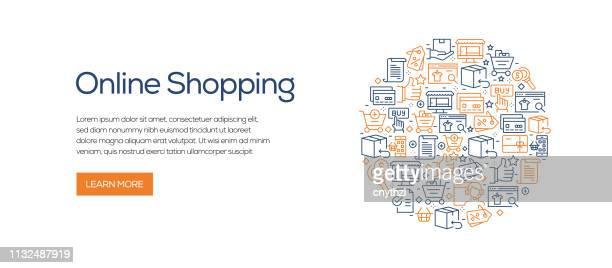 Plantilla de banner de compras en línea con iconos de línea. Ilustración vectorial moderna para publicidad, cabecera, website.