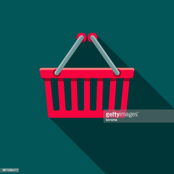 online shopping basket flat design shipping icon with side shadow - shopping basket stock illustrations