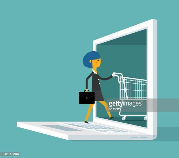 Achats en ligne - femme d'affaires