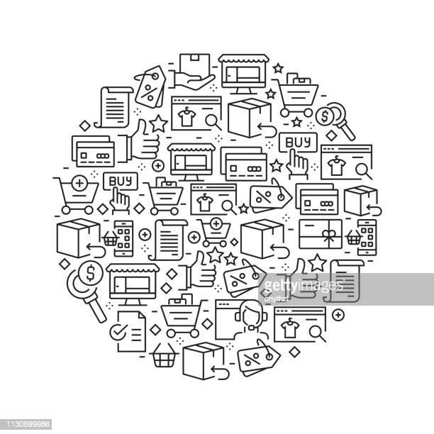 Compras en línea concepto - los iconos de línea blanco y negro, dispuestos en círculo
