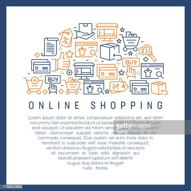 Concepto de compras en línea-coloridos iconos de línea, dispuestos en círculo