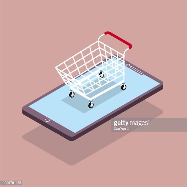 stockillustraties, clipart, cartoons en iconen met online winkelen concept ontwerp, winkelwagentje in mobiele telefoon. de achtergrond is bruin. - zonder mensen