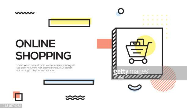 Online Shopping Concept. Geometric Retro Style Banner and Poster Concept with Online Shopping icon