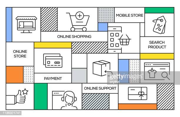 Concepto de compras en línea. Banner de estilo retro geométrico y concepto de póster con iconos de línea de compras en línea