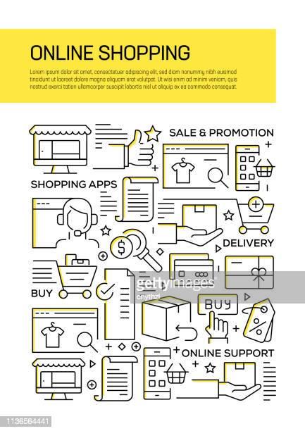Diseño de la cubierta del concepto de línea de compras en línea para el informe anual, aviador, folleto.