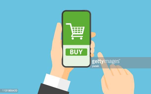 ilustrações, clipart, desenhos animados e ícones de conceito em linha da compra - loja de produtos eletrônicos