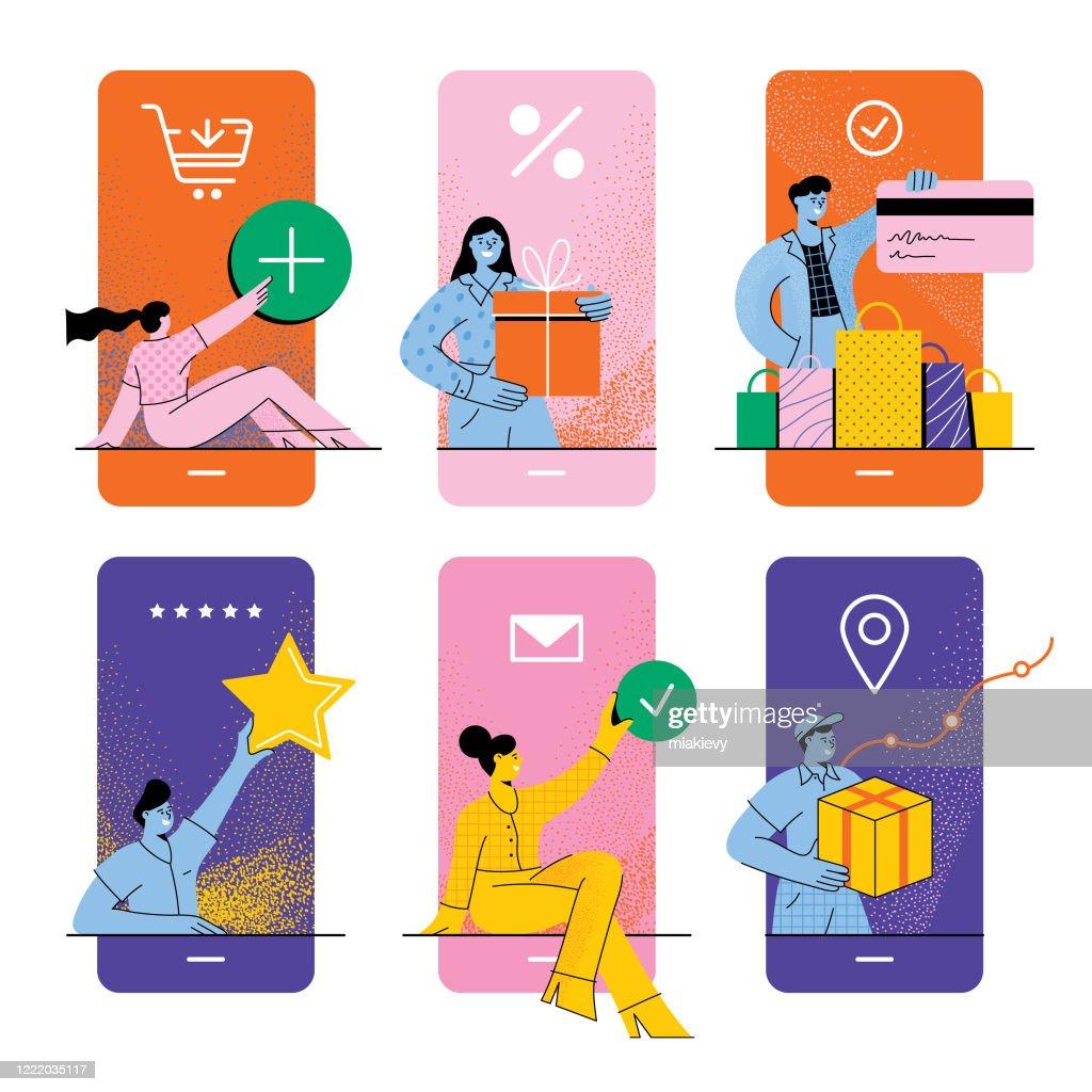 Online winkelen concept : Stockillustraties