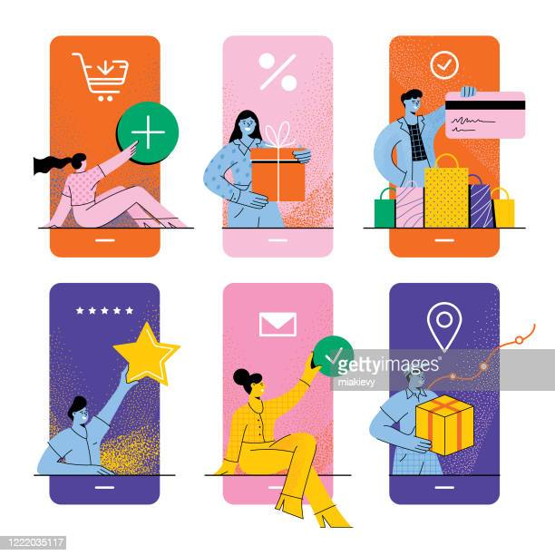 online shopping concept - retail stock illustrations