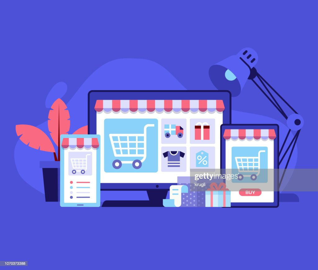 Online Shopping Digital Store Concept : stock illustration