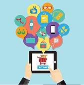 Online shopping e-commerce concept. business button order item
