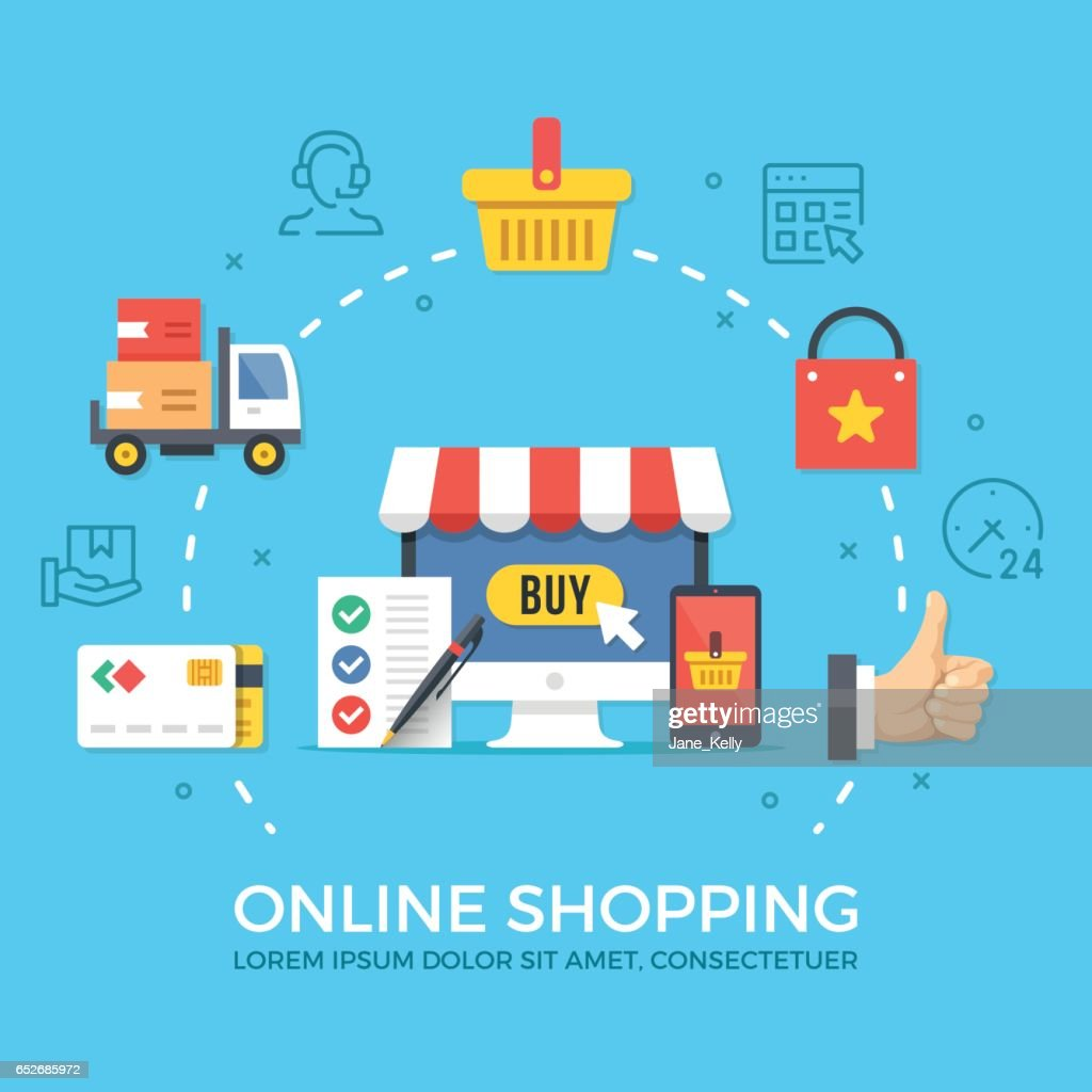 Online shopping, ecommerce. Flat design graphic elements, signs, symbols, concepts, line icons set. Premium quality. Modern vector illustration