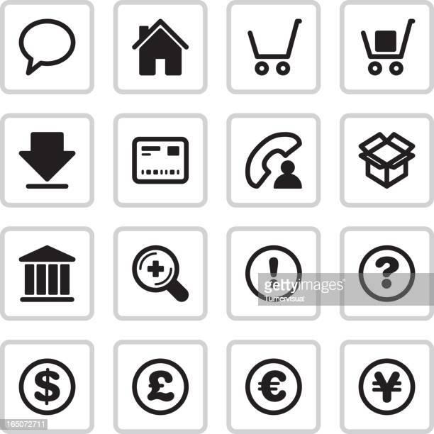 stockillustraties, clipart, cartoons en iconen met online  shopping & finance icons | black - e mail