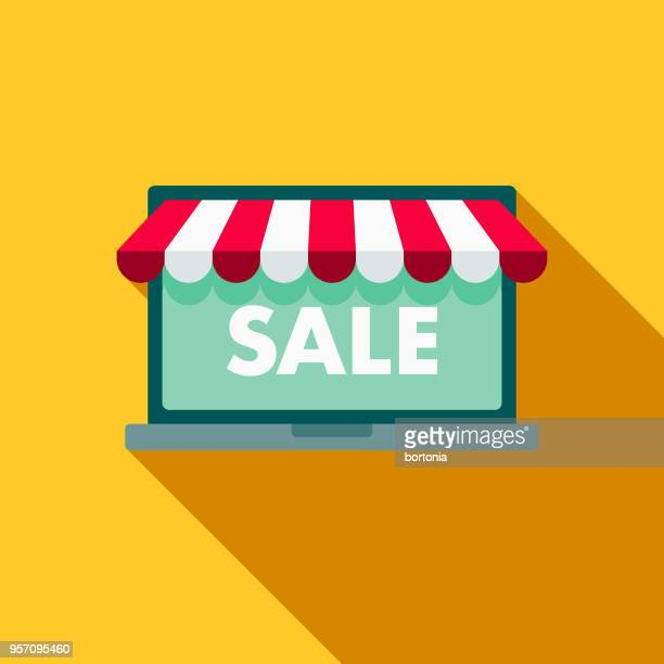 online shopping flat design shipping icon with side shadow - awning stock illustrations, clip art, cartoons, & icons