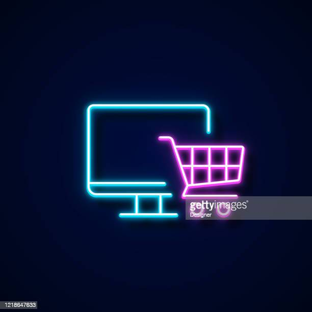 online shopping icon neon style, design elements - online shopping stock illustrations