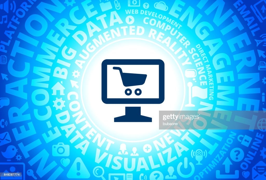 Online Shopping Icon On Internet Modern Technology Words Background High Res Vector Graphic Getty Images