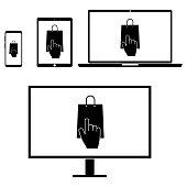 Online shopping icon on white background