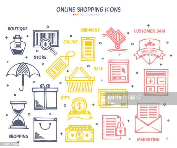 ilustraciones, imágenes clip art, dibujos animados e iconos de stock de compras en línea conjunto de iconos - boutique