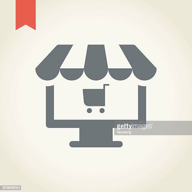 online shopping icon - awning stock illustrations, clip art, cartoons, & icons