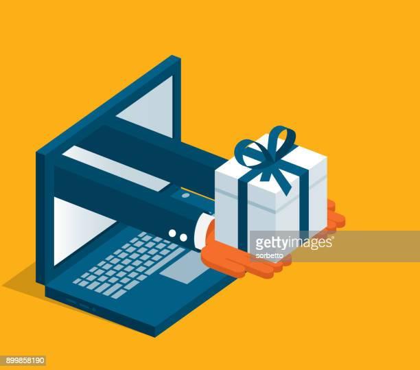 オンライン ショッピング - ノート パソコン - 受ける点のイラスト素材/クリップアート素材/マンガ素材/アイコン素材