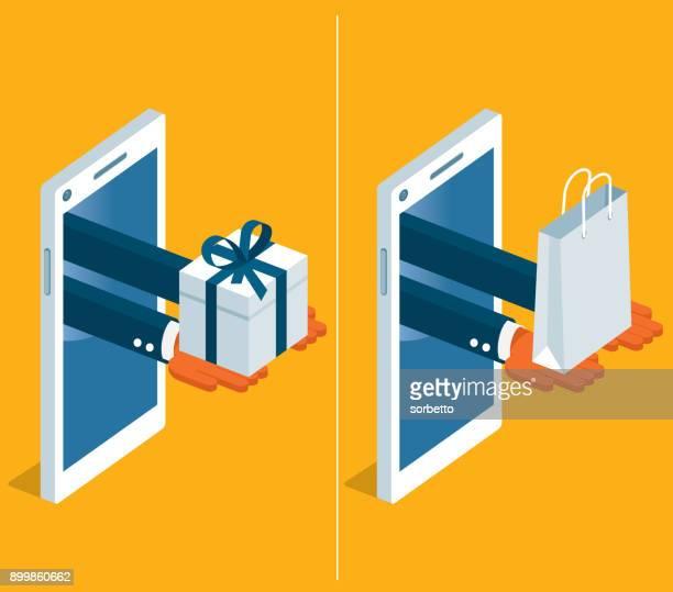 online shopping - mobile phone - online shopping stock illustrations
