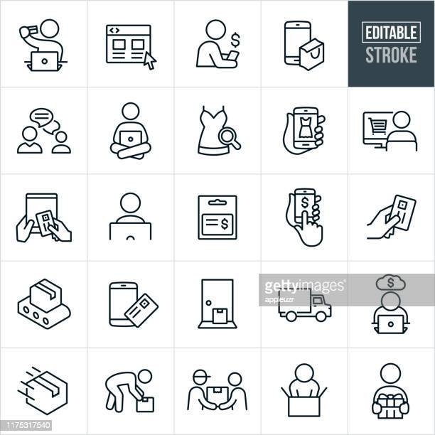 online shopping thin line icons - ediatable stroke - consumerism stock illustrations