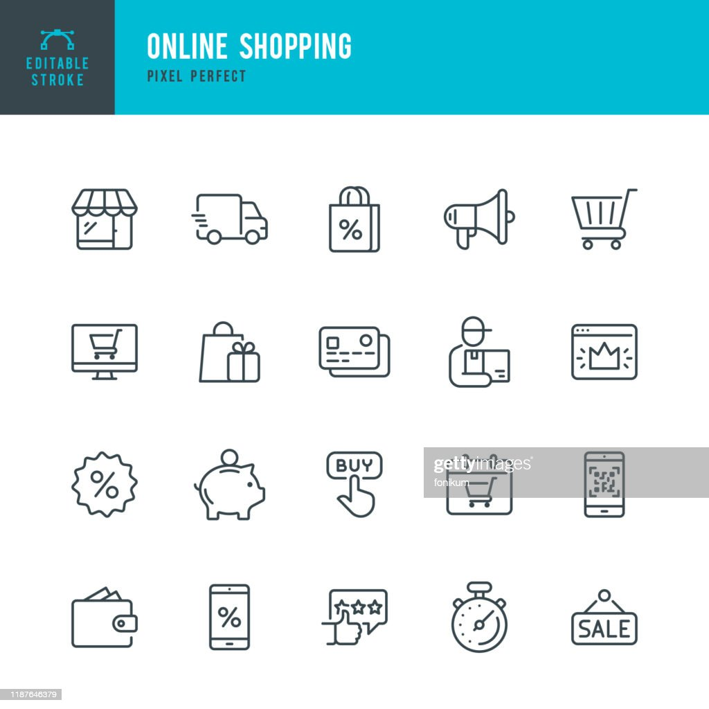 Online Shopping - thin linear vector icon set. Editable stroke. Pixel perfect. The set contains icons such as Shopping, E-Commerce, Store, Discount, Shopping Cart, Delivering, Wallet, Courier and so on. : stock illustration