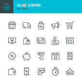 Online Shopping - thin linear vector icon set. Editable stroke. Pixel perfect. The set contains icons such as Shopping, E-Commerce, Store, Discount, Shopping Cart, Delivering, Wallet, Courier and so on.
