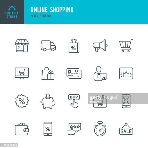 ilustraciones, imágenes clip art, dibujos animados e iconos de stock de compras en línea - conjunto de icono vectorial lineal delgado. trazo editable. píxel perfecto. el conjunto contiene iconos como shopping, e-commerce, store, discount, shopping cart, delivering, wallet, courier y así sucesivamente. - shopping