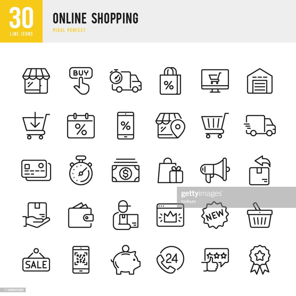 Online Shopping - thin linear vector icon set. Pixel perfect. The set contains icons such as Shopping, E-Commerce, Store, Discount, Shopping Cart, Delivering, Wallet, Courier and so on. : stock illustration