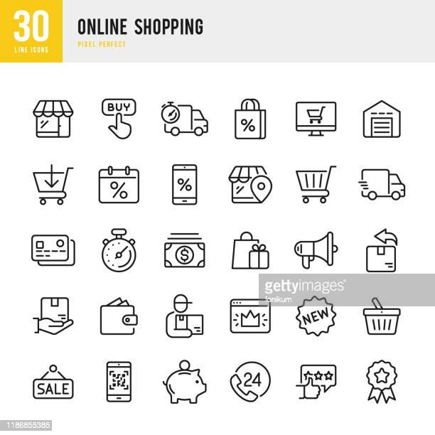 ilustrações, clipart, desenhos animados e ícones de compras on-line - conjunto de ícones de vetor linear fino. pixel perfeito. o conjunto contém ícones como shopping, e-commerce, store, discount, shopping cart, delivering, wallet, courier e assim por diante. - {{ contactusnotification.cta }}