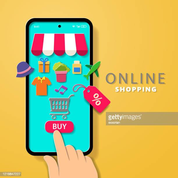 online shopping - selling stock illustrations