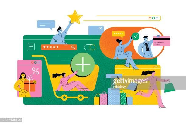 online shopping - retail stock illustrations