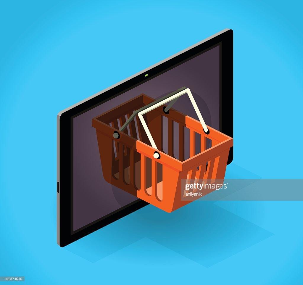 online shopping (mobile) : stock illustration