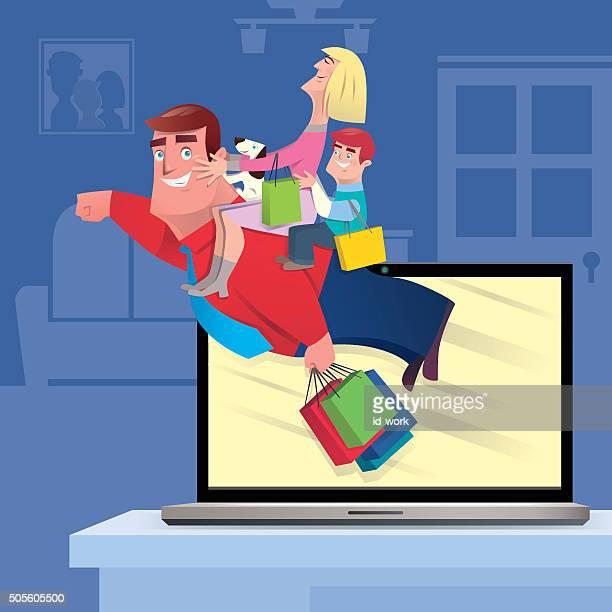 ilustrações de stock, clip art, desenhos animados e ícones de compras online - family cycling