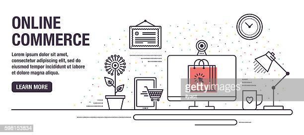 ilustrações de stock, clip art, desenhos animados e ícones de compras online - online advertising