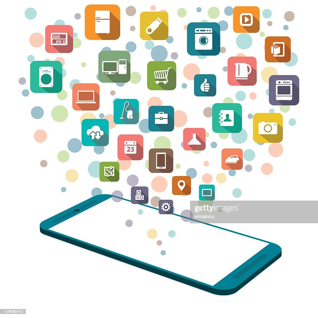 Online shopping with smartphone : stock illustration