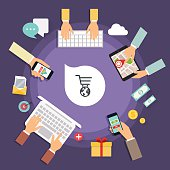 Online store concept. Icons for mobile marketing. Hand holding s