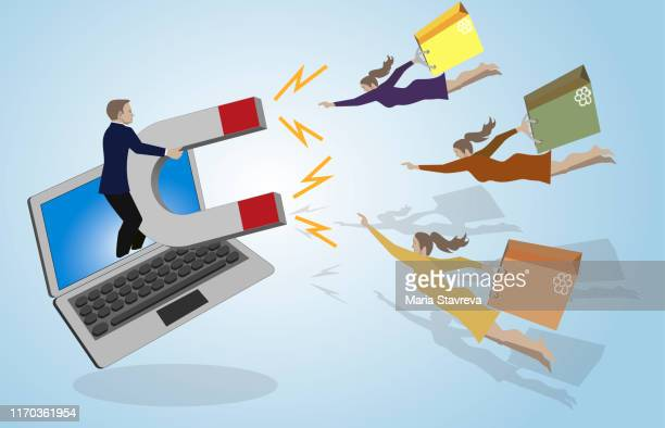 online store customer retention flat. - pbs stock illustrations