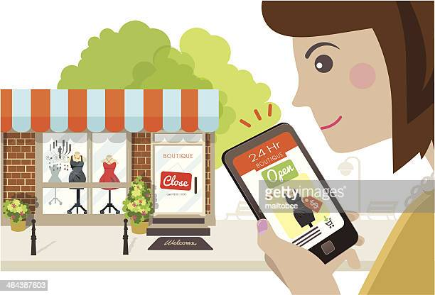 online store is always open - boutique stock illustrations, clip art, cartoons, & icons