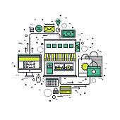 Online store line style illustration