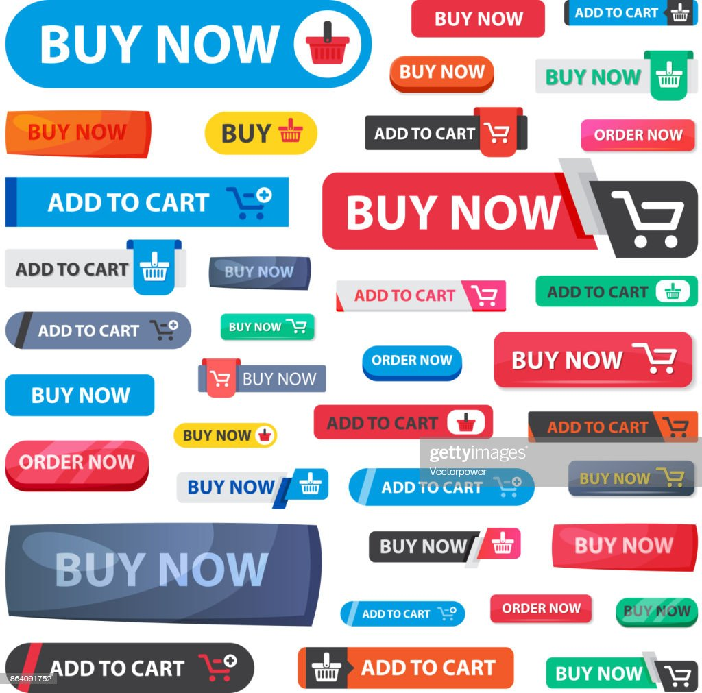 Online store sale vector web shopping buttons isolated on white background