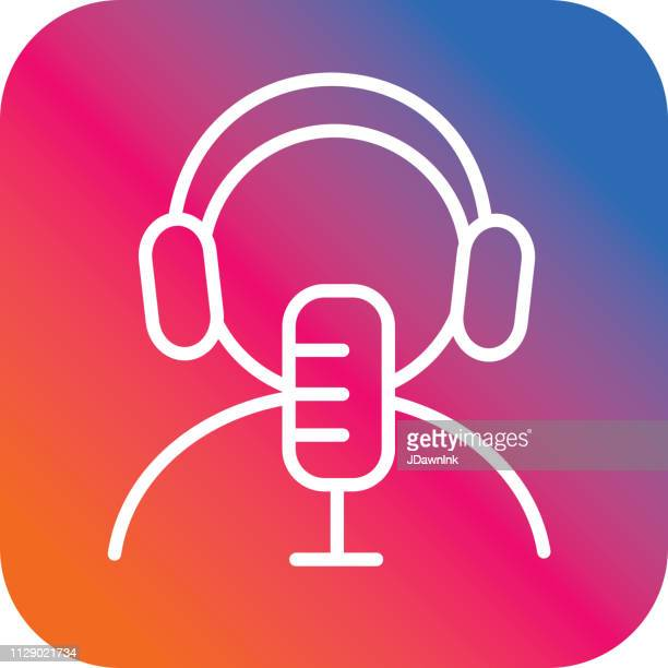 online streaming flat simple outline line art design icon - podcasting stock illustrations, clip art, cartoons, & icons