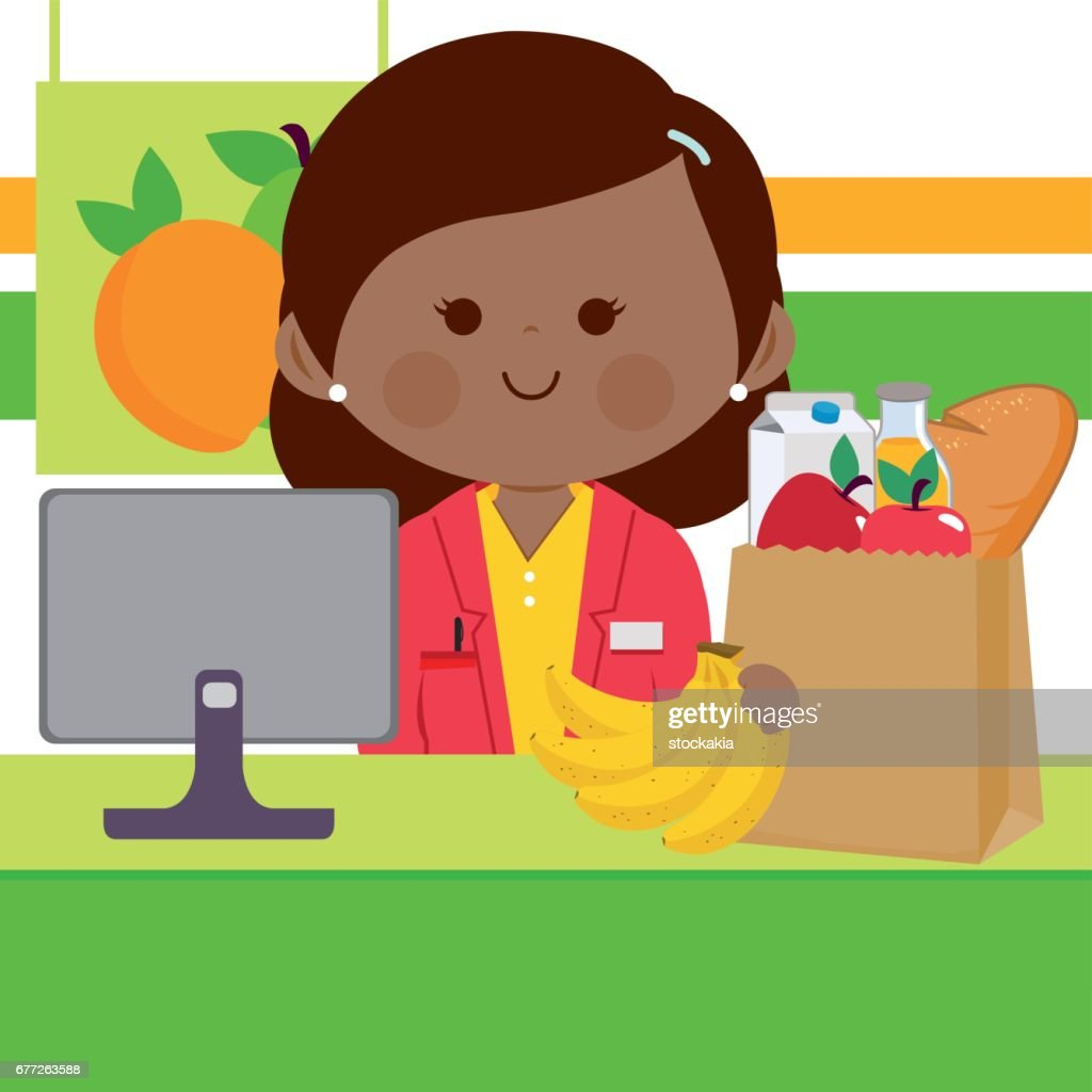 Online supermarket employee at the counter in front of a computer filling a shopping bag with groceries.