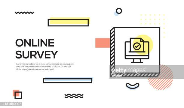 online survey concept. geometric retro style banner and poster concept with online survey icon - human body part stock illustrations, clip art, cartoons, & icons