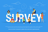 Online survey concept vector illustration of people fulfilling checklist