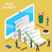 Online survey flat isometric vector concept.