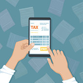 Online tax payment via phone. Man holding a mobile phone with tax form on screen and pay button. Internet banking concept. Online paying, bookkeeping, accounting. Vector illustration