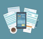 Online tax payment via phone. Mobile phone with tax form on screen and pay button. Internet banking concept. Online paying, bookkeeping, accounting. Vector illustration