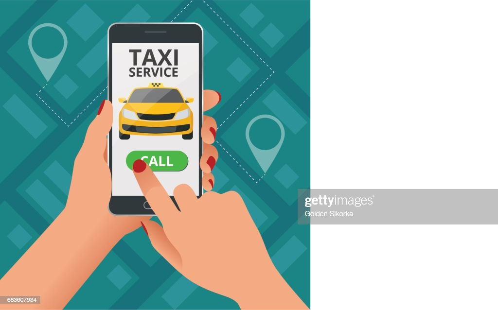 Online Taxi-service concept. Woman orders a taxi from his cell phone. Taxi service application on screen. Vector business card template.