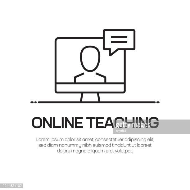online teaching vector line icon - simple thin line icon, premium quality design element - web conference stock illustrations